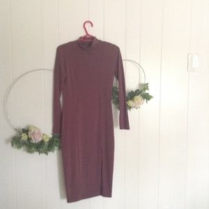 Long sleeve maroon dress
